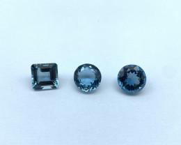 17.11 Carats Lot of 3 pcs Blue Topaz Natural Gemstone IGI Certified
