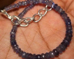 26 Crt Natural Tanzanite Faceted Beads Bracelet 20
