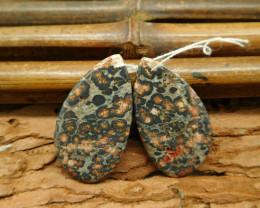 Natural leopard skin jasper cabochon pair (G0808)