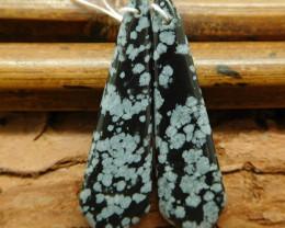 Snow flake obsidian earring beads (G0810)