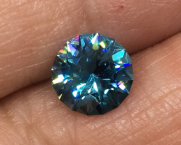 2.47 Carat VVS Zircon Caribbean Blue Master Cut Spectacular Flash !