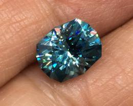 3.09 Carat VVS Zircon Master Cut Caribbean Blue Super Flash Quality !