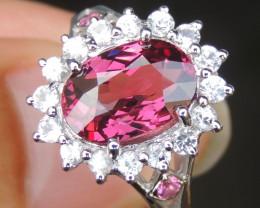 Malaya Garnet with Pink Tourmaine and Sapphires