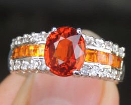 Mandarin Spessartite with Sapphires in Silver