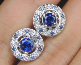 Royal Blue Kayanite with Sapphires in Silver
