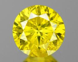 0.22 Cts SPARKLING RARE FANCY VIVID YELLOW NATURAL DIAMOND