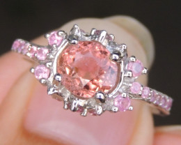 """Padparadscha"" Color Tourmaline with Sapphire"