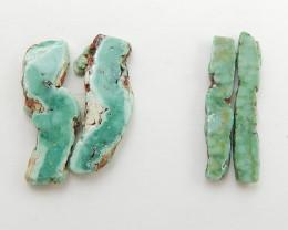 4pcs Semi Precious Nugget Green Chrysoprase Gemstone, Chrysoprase Cabochons