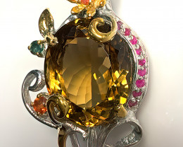 Artisan Citrine Ruby Sapphire Brooch 14kt Gold over Sterling Silver