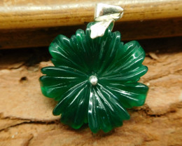 Natural canada jade s925  carved flower pendant (B1532)