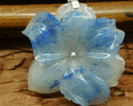 African sodalite 925 silver carved flower pendant bead (G1354)