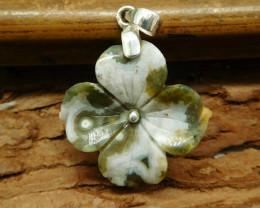 Ocean jasper flower pendant (B1359)