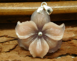 Natural gemstone flower intarsia s925 silver (B1361)
