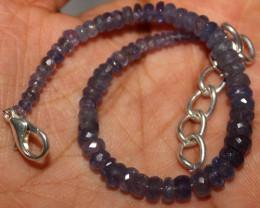 31 Crt Natural Tanzanite Faceted Beads Bracelet 32