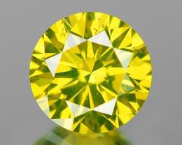 0.33 Cts Rare Sparkling Fancy Vivid Parrot Green Color Diamond