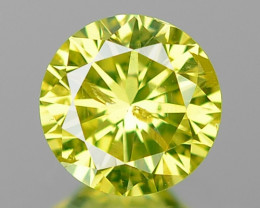 0.27 Cts Rare Sparkling Fancy Vivid Parrot Green Color Diamond