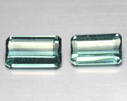 2.07 Cts Natural Indicolite Blue Tourmaline Octagon Cut 2 Pcs Mozambique