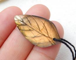 Labradorite Leaf Pendant,Carved Leaf,High Quality Labradorite Pendant H7514