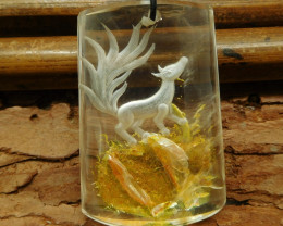 Ghost quartz carved fox pendant bead (G0831)