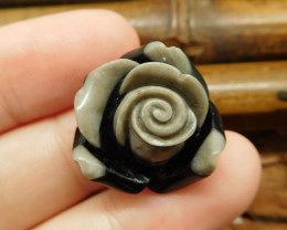 Gemstone intarsia stone carved flower bead (G0838)