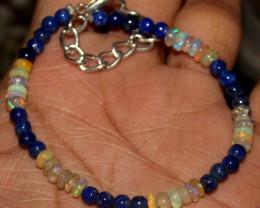 21 Crts Natural Welo Opal & Lapis Lazuli Beads Bracelet