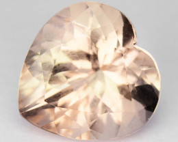 ~LOVELY~ 1.59 Cts Natural Peach Pink Morganite 8mm Heart Cut Brazil