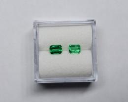 0.63 Carat  Emerald Pair Vivid Green Panjshir