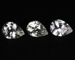 ~UNHEATED~ 2.50 Cts Natural White Sapphire 7x5mm Pear 3Pcs Sri Lanka