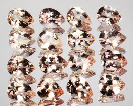 14.90 Cts Natural Peach Pink Morganite 8x6mm Pear 16Pcs Brazil