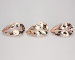 5.80 Cts Natural Peach Pink Morganite 11x7mm Pear Cut 3Pcs Brazil