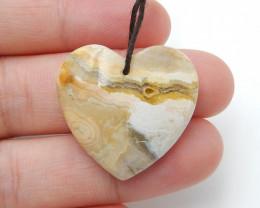 30.5cts Fashion Crazy Lace Agate Heart Shape Pendant ,Handmade Gemstone D41