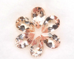 3.44 Cts Natural Peach Pink Morganite 7x5mm Pear Cut 6 Pcs Brazil