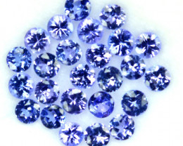 2.32 Cts Natural Purple Blue Tanzanite 3mm Round 25Pcs Tanzania