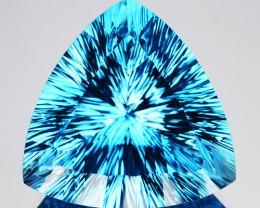 ~DAZZLING~ 47.14 Cts Natural Sky Blue Topaz Trillion Concave Cut Brazil