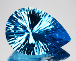~GLITTERING~ 33.51 Cts Natural Sky Blue Topaz Pear Concave Cut Brazil