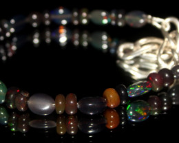 25 Crts Natural Welo Smoked Opal Beads & Nuggets Bracelet 586