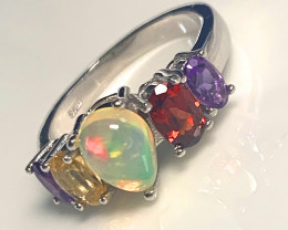 Inspiring Opal Garnet Amethyst Sterling Silver Ring - wonderful colors!