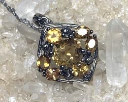 "Citrine Sterling Silver Black Rhodium PENDANT 16.5"" necklace - No Reserve"