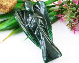 Genuine 104.00 Cts Green Jade Healing Angel