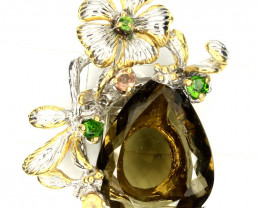 Artisan Citrine Green Gold Quartz Brooch Pendant 14kt Gold over Sterling Si