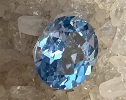 SKY BLUE TOPAZ - A GLITTERING OVAL FACET GEMNO RESERVE