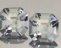 Glowing Pair of Asscher Cut Silver Grey Spinel - Burma   H623H