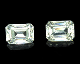 3.80 Cts Natural Sparkling White Zircon 2Pcs Octagon Cut Tanzania