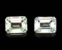 3.39 Cts Natural Sparkling White Zircon 2Pcs Octagon Cut Tanzania