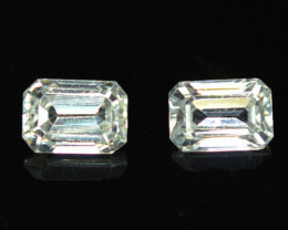 3.35 Cts Natural Sparkling White Zircon 2Pcs Octagon Cut Tanzania