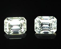 3.85 Cts Natural Sparkling White Zircon 2Pcs Octagon Cut Tanzania