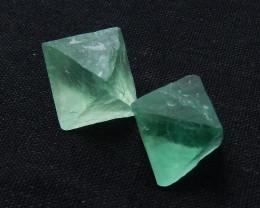 110cts beautiful angled fluorite cabochon pairs green gemstone D449