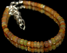 22 Crt Natural Ethiopian Welo Fire Faceted Opal Beads Bracelet 3