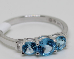 (B3)Dazzling $1000 Nat. 0.75 ct Blue Topaz & Diamond Ring 10K YG 2.3gr