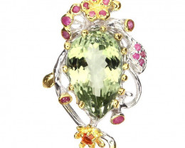 Green Amethyst Ruby Sapphire Brooch Pendant 14kt Gold over Sterling Silver
